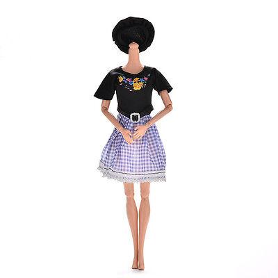 2 Pcs/set Black and Blue Grid Dresses for Barbies Princess Dolls with Hat
