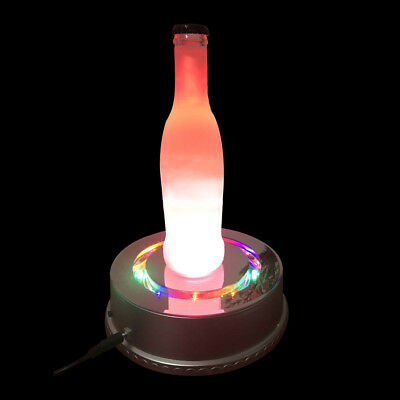 3d Crystal Display Stand 6-Inch Rotating Base 15 LED Light(Silver) (6 Inch 3d Crystal)