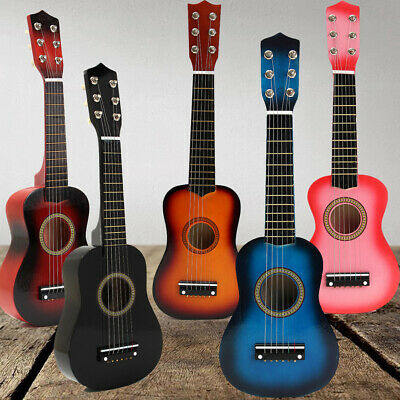 "21"" Acoustic Guitar Wooden Beginner Pratical Black Small Guitarra For Kids Boys"