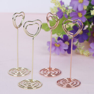 1pc Heart Shaped Photo Card Holder gold rose gold for home wedding decoration P0