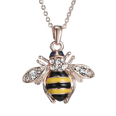 Unique Women Honey Bumblebee Bee Crystal Pendant Chain Necklace LSPU