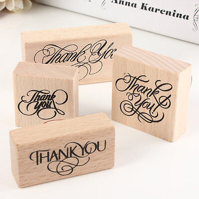 Vintage Thank You Wooden Rubber Stamp Craft Wedding Party 4 Styles To Choose Ec