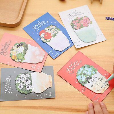 20 Pages Cute Flower Pot Sticker Bookmark Marker Flags Sticky Notes