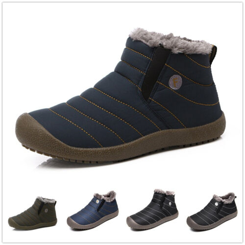 Boots - SITAILE Mens Winter Snow Ankle Boots Fur Lined Casual Shoes Outdoor Slippers