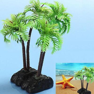 Fashion Plastic Aquarium Coconut Tree Fish Tank Plants Ornament Decoration EP](Coconut Decorations)