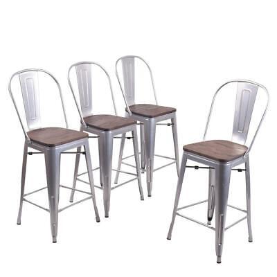 Set of 4 Metal Bar Stools 26