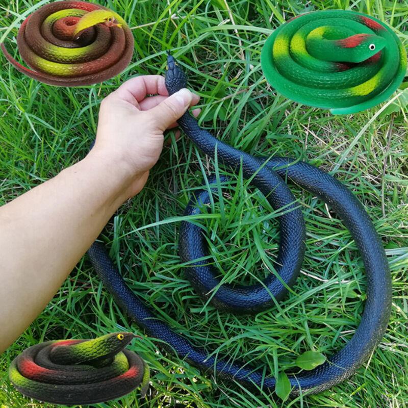 120CM Fake Snake Safari Garden Prop Joke Prank Halloween Real Toy Rubber Gi J9P2