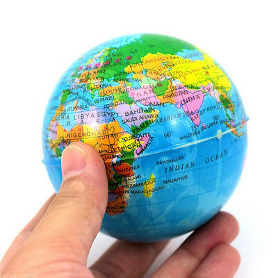 World Map Earth Globe  Squeeze Foam Ball Hand Wrist Exercise Stress Relief (World Relief Map)