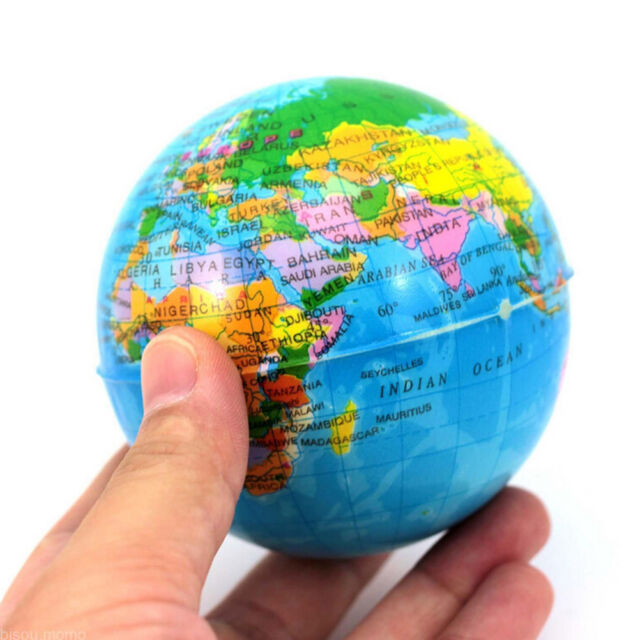 World map earth globe squeeze foam ball hand wrist exercise stress world map earth globe squeeze foam ball hand wrist exercise stress funny js gumiabroncs Choice Image