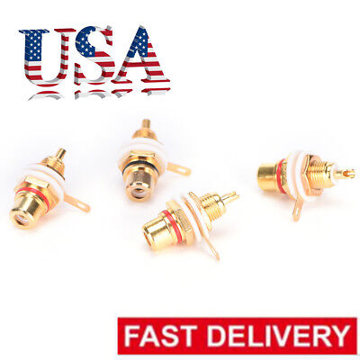 Rca Chassis Socket - 10x RCA Female Chassis Panel Mount Jack Socket Connector 24K Gold Plated Tool RH