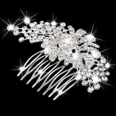 Wedding Party Bride Flower Crystal Rhinestone Hair Comb Hairpin Clip Slides
