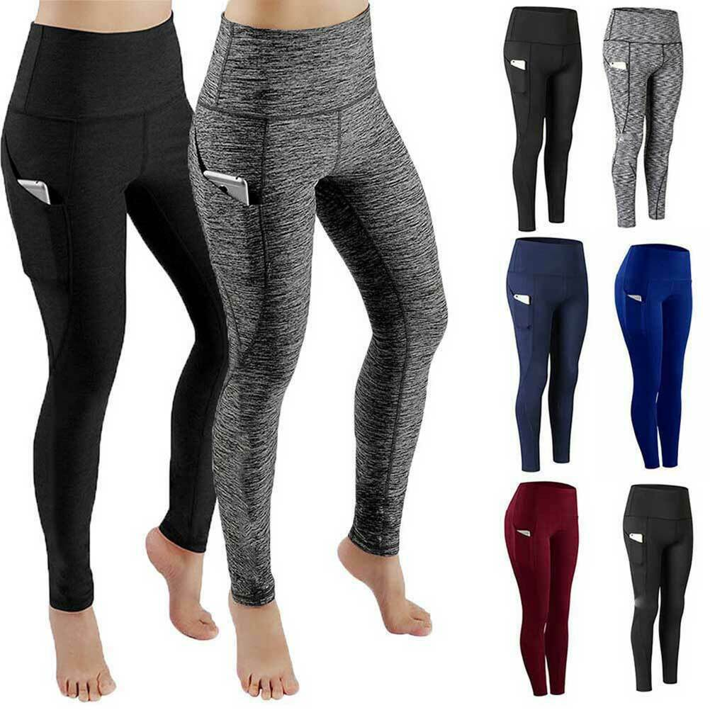 Women Ladies Push Up Elastic Yoga Leggings With Pocket Fitness Gym Sports Pants