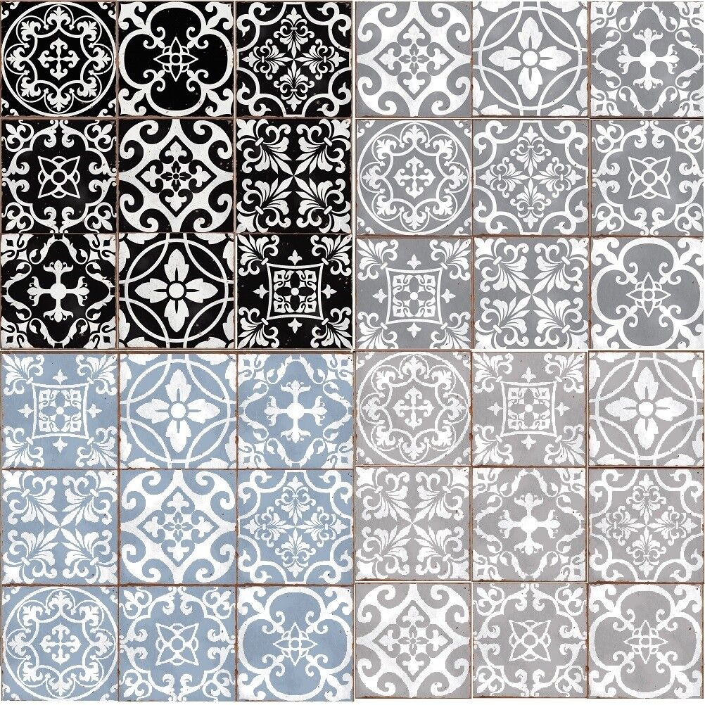 Home Decoration - Traditional tile transfers stickers wall Vintage Victorian Moroccan retro mosaic