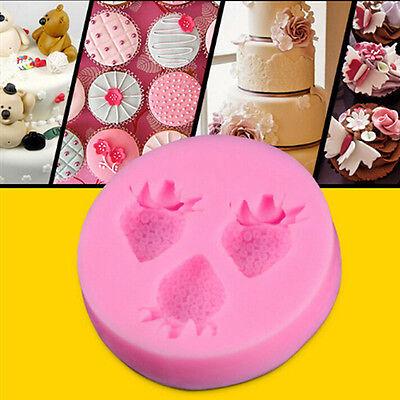 Strawberry Shape Silicone Fondant Mould Cake Decor Chocolate Mold Kitchen JT