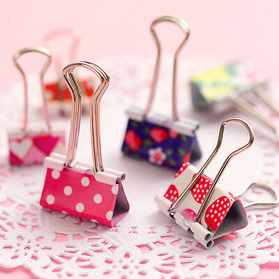 6x Flower Printed Metal Binder Clips Notes Paper Clip Office Tool 19 X 37mm Vp