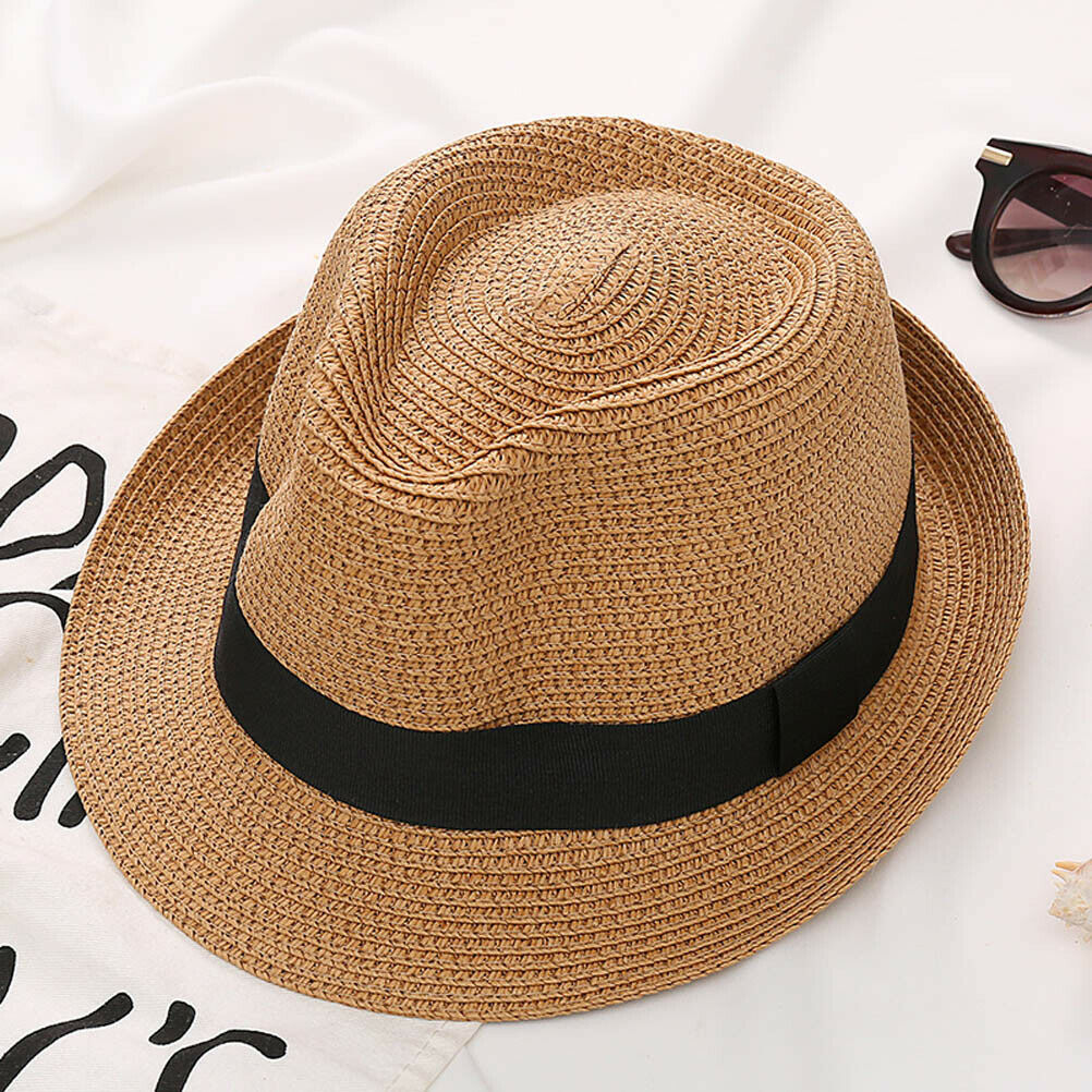 Vintage Boys Dad Mens Summer Straw Hat Kids Fedora Trilby Beach Sun Hat Cap Gift