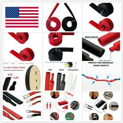 5-20ft 181dual-wall Adhesive Glue Lined Heat Shrink Tube 31 Ratio Blackred