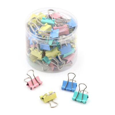 60pcs 15mm Colorful Metal Binder Clips File Paper Clip Holder Office Supplies Sm