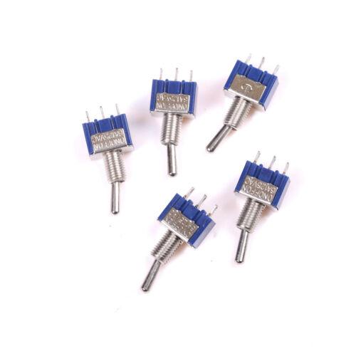 5Pcs ON-OFF-ON 3Pin 3Position Mini Latching Toggle Switch AC 125V/6A~W4EXLU