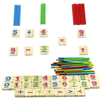 Baby Kids Early Learning Wooden Numbers Stick Mathematics Counting Math Toys EP