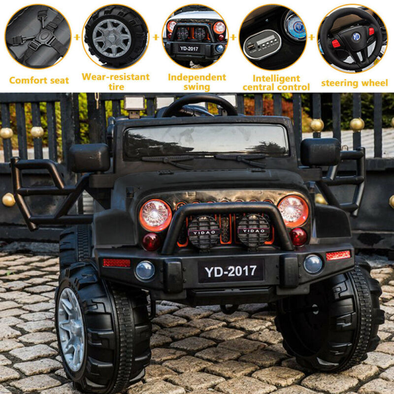12V 3 Speed Kid Ride On Electric Remote Control Car Jeep Ind