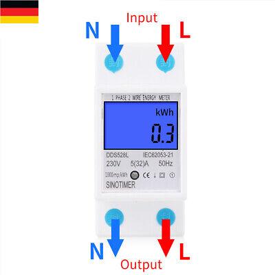 32 Schienen (Digital Stromzähler Energiezähler Hutschiene Spannung Wattmeter 5-32A 230V 50Hz)