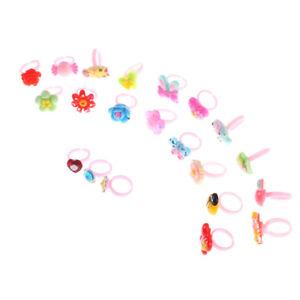 10x Kids Cartoon Rings toy Plastic Children Kids Animals Flowers Finger RingsrON