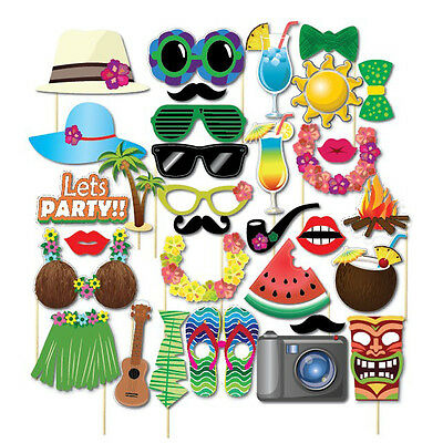 32 Pcs LUAU SAYINGS Photo Booth Stick Props GAME FUN tropical Beach Pool Party - Photo Booth Sticks