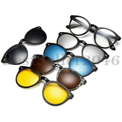 5Pcs Polarized Magnetic Lens Clip-on Sunglasses Plastic Frame for Night (Sunglasses Uv400 Polarized Magnetic Clip)