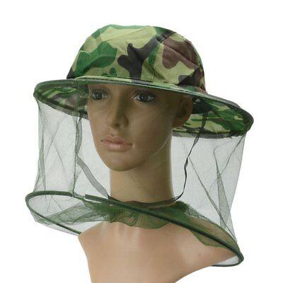 Green Camouflage Beekeeping Mesh Net Veil Head Hat Face Protector Cap Beekeeper
