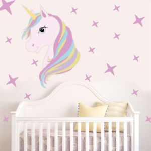 Beautiful Unicorn Horse Stars Wall Decals For Kids Girls Room Diy Home Decor KZ  sc 1 st  eBay & Horse Wall Decals | eBay