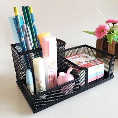 Metal Mesh Desk Organizer Set Desktop Supply Pen Holder Mini Hutch Storage Table