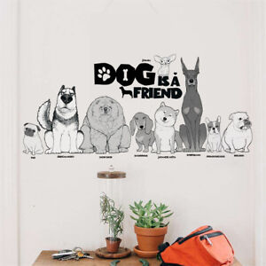 Dog is a friend wall stickers home decor animal wall decals diy mural art NS