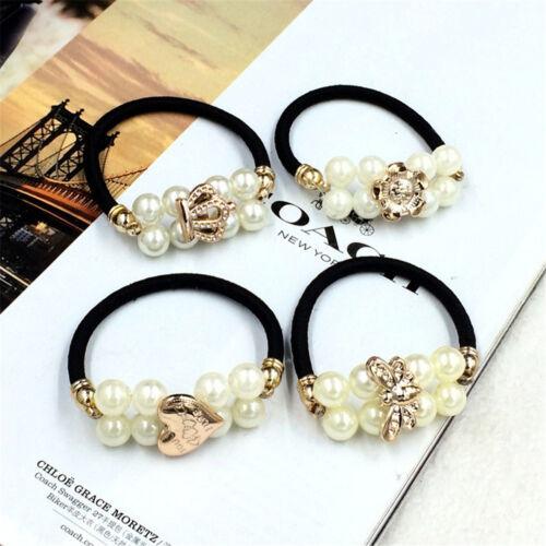 1PC Korean Women Girls Faux Pearl Bunch Hair Clip Hair Ring Accessories RS