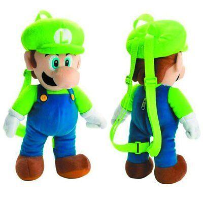Super Mario Bros Brothers Luigi Plush Backpack Stuffed Animal Toy Kids Boys -