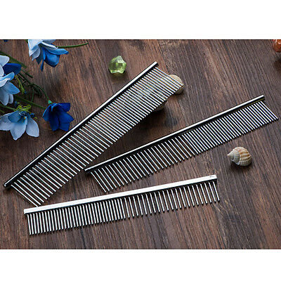 Pet Puppy Dog Cat Stainless Steel Comb Long Hair Shedding Grooming Flea Comb RS