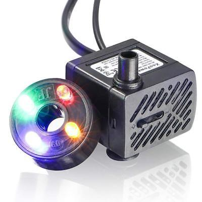 Water Fountain Pump with 4 LED Light Silent Small Submersible for Fish Tank