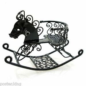 Black-Wire-Nursery-Rocking-Horse-Dollhouse-Miniature