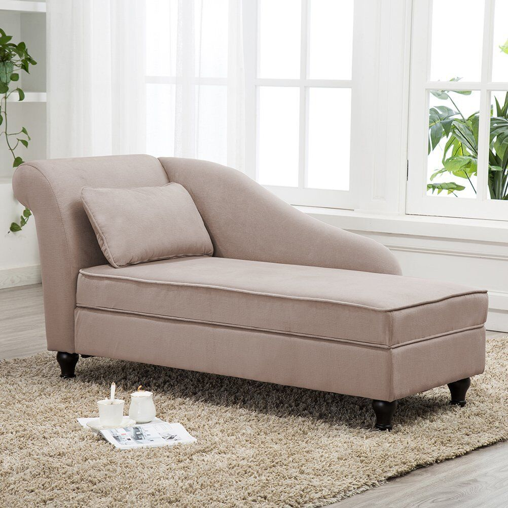 Chaise Lounge Storage Button Tufted Sofa Chair Couch for Bed
