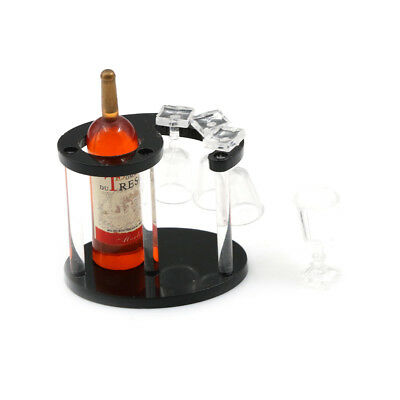 Champagne Bottle Wine Rack with Four Glasses 1:12 Doll's House Miniature
