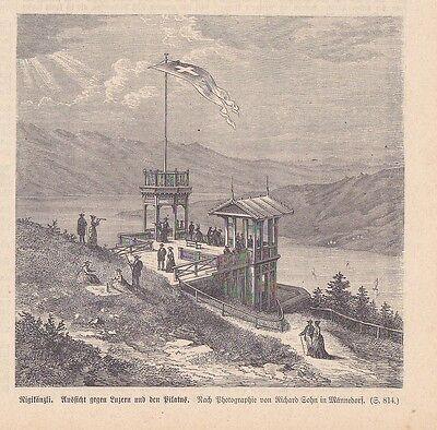 Rigikänzli Ansicht gegen Luzern HOLZSTICH von 1876 Känzeli Rigi-Kaltbad