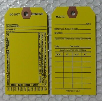 100-fire Extinguisher 4-year 2020-2023 Inspection Double Sided Tags 5 14x2 12