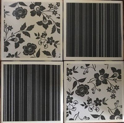 Ceramic Tile Coaster Set of 4 Grayish Black and White