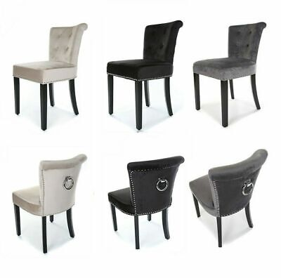 Velvet Fabric Dining Chair with Knocker Back Upholstered Kitchen Seat Grey Black