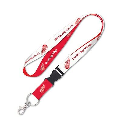 "Detroit Red Wings 22"" Detachable Team Logo Colors Quality Lanyard Keychain NHL"