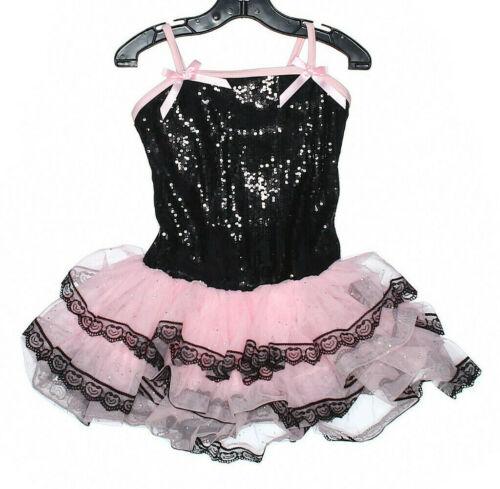 Girl Theatricsl Pink Black Sequin Ballet Dance Costume Size XSC