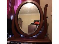 Oak large dressing table mirror