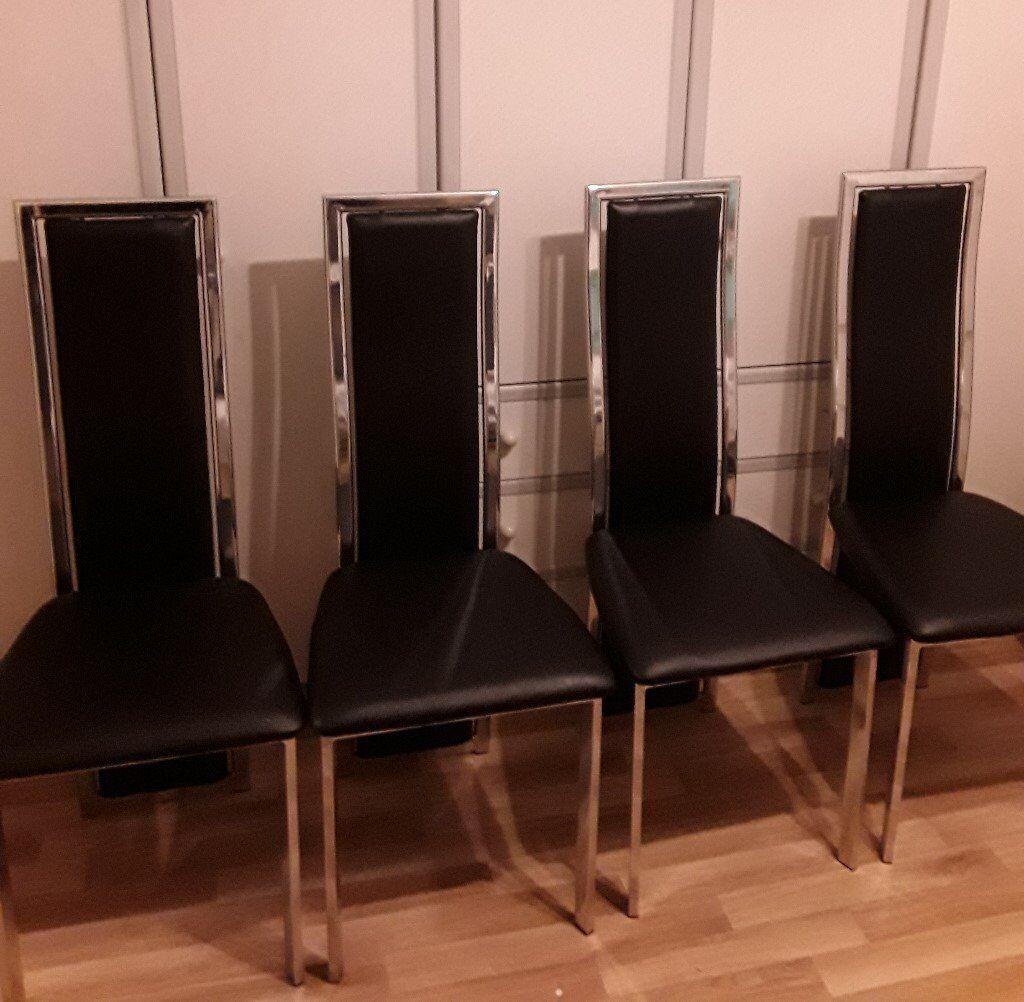 4 Dining Room Chairs High Back Chrome Frame Black Vinyl