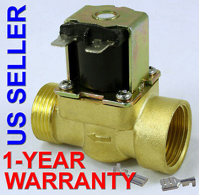 34 In 110v-120v Ac Slim Brass Solenoid Valve Nps Gas Water Air Normally Closed