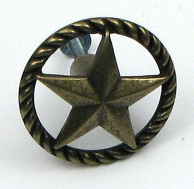 SET OF 4 Antique Brass Replica Western Texas Lone  Star Drawer Pull  Knob - Star Drawer Pulls